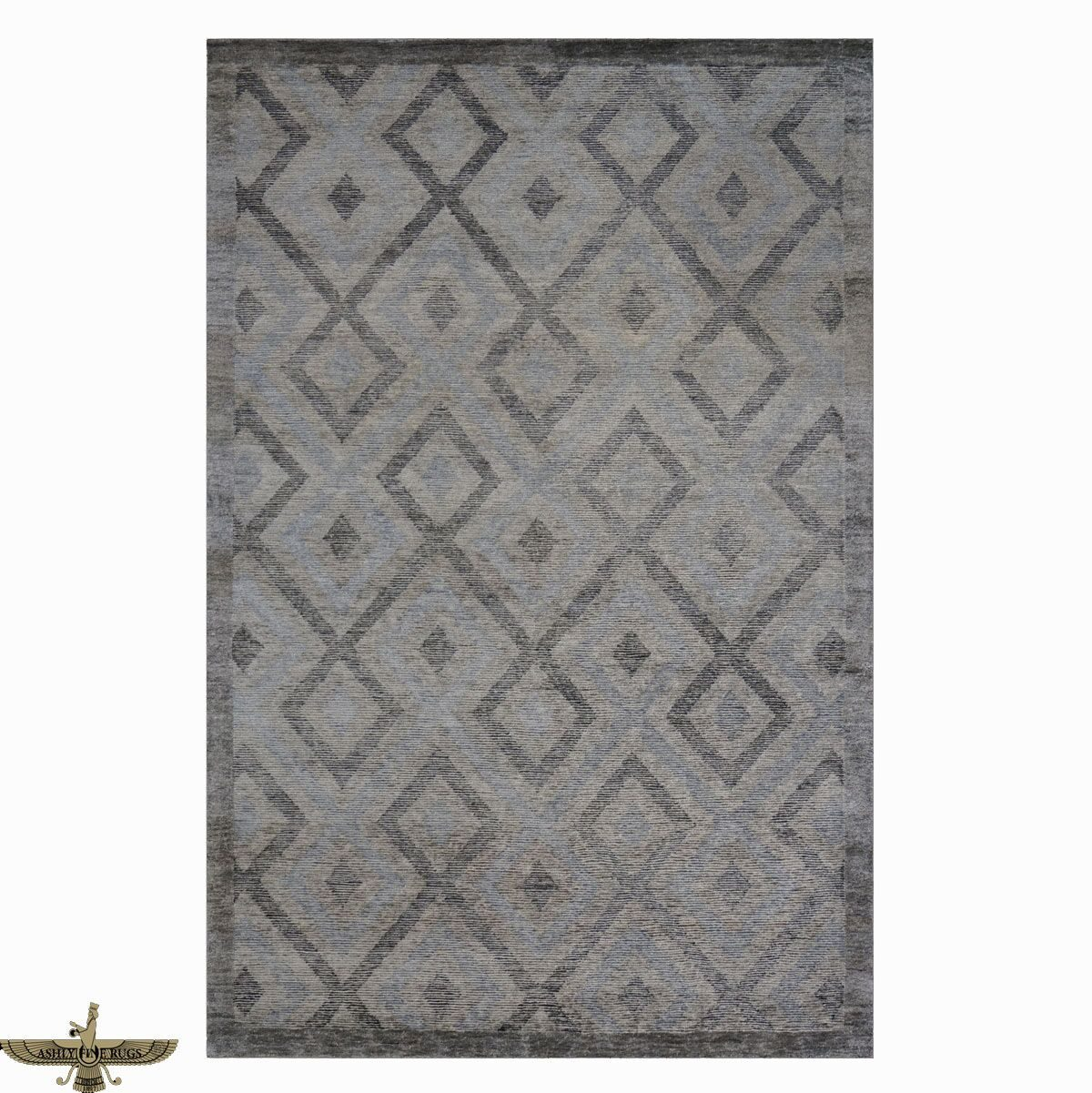 Area rugs available from Ashly Fine Rugs. This 6 x 9 handmade modern wool and silk rug is made in India feauring a geometric gray pattern.