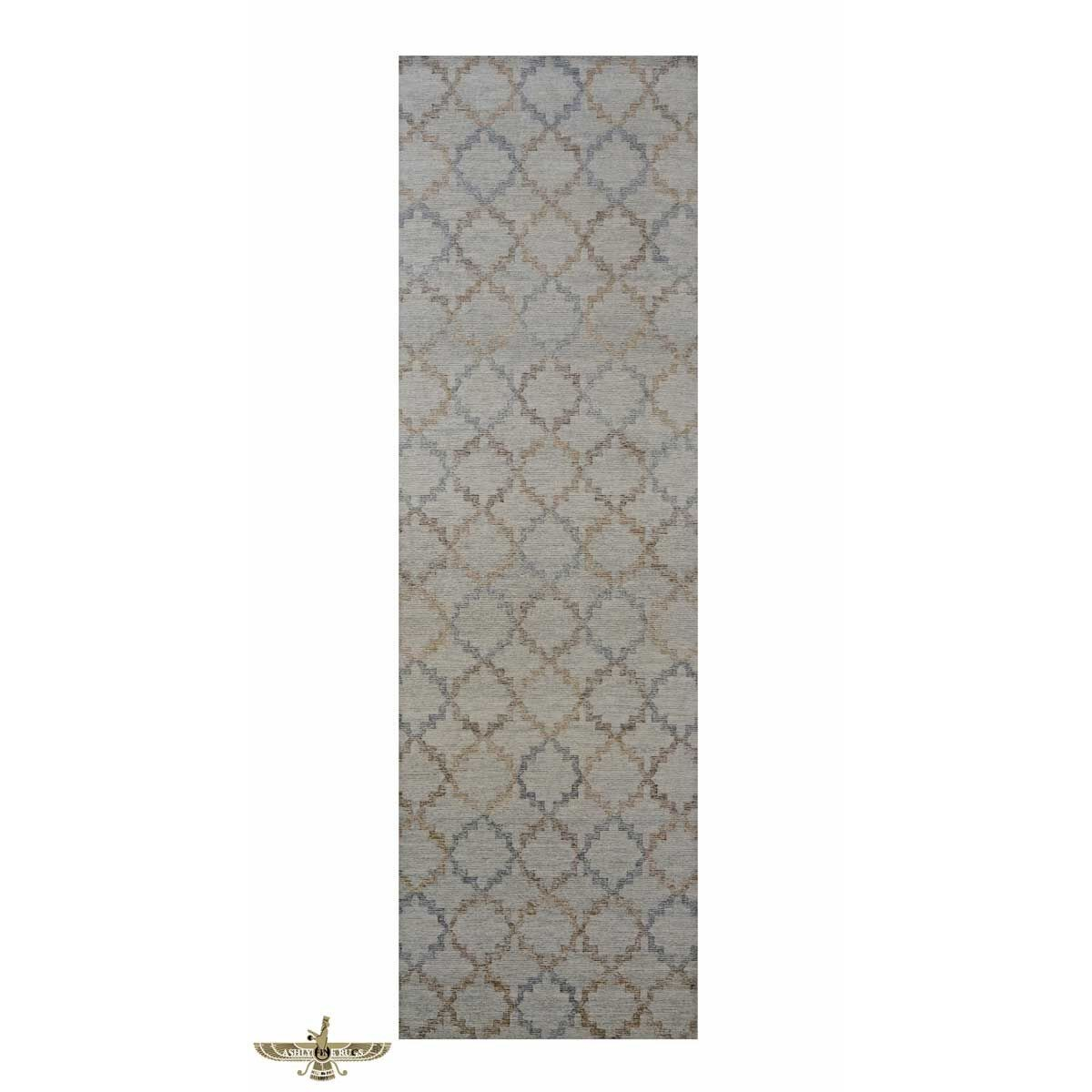 Area Rugs 1143852 Modern Wool And Silk 4 X 13 Indo Nepal Blue Gallery Hallway Rug