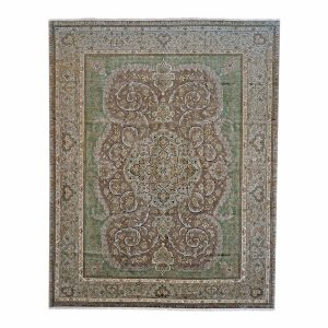 1143872 Tabriz 9 x 12 Green Persian Area Rug